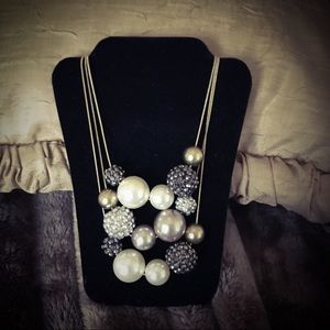 Chico's Multi Strand Necklace Pearls Gold Silver